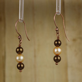 Bamboo Left View - Brown Imitation Pearl and White Cultured Pearl on Copper Earwires (1262)