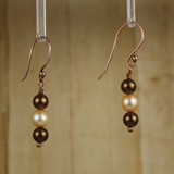 Bamboo RIght View - Brown Imitation Pearl and White Cultured Pearl on Copper Earwires (1262)