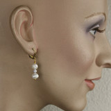 Mannequin View - White Cultured Pearl and White Imitation Pearl on Gold Earwires (1263)