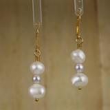 Bamboo Center View - White Cultured Pearl and White Imitation Pearl on Gold Earwires (1263)