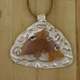 Bamboo View - Frolicking Agate Dolphin pendant made with .999 Fine Silver (1333)