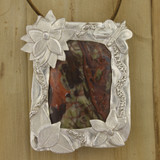 Bamboo Front View - Pendant - Agate with a .999 Fine Silver Frame (1336)