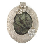 White View - Jasper & Roses pendant with a .999 Fine Silver Frame (1348) - Front