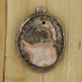 Bamboo View - Jasper & Roses pendant with a .999 Fine Silver Frame (1348) - Back
