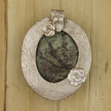Bamboo View - Jasper & Roses pendant with a .999 Fine Silver Frame (1348) - Front