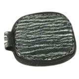 Back Side View -  Fine Silver Seahorse with Green Zebra Jasper pendant (1352)