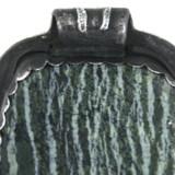 Back Bail View -  Fine Silver Seahorse with Green Zebra Jasper pendant (1352)