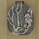 Bamboo View -  Fine Silver Seahorse with Green Zebra Jasper pendant (1352)
