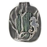 White View -  Fine Silver Seahorse with Green Zebra Jasper pendant (1352)