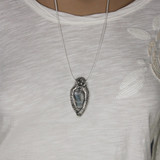 Mannequin View  Front -  Fine Silver Owl with Labradorite pendant (1363)