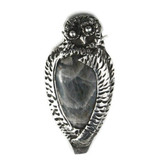 White View  Front -  Fine Silver Owl with Labradorite pendant (1363)