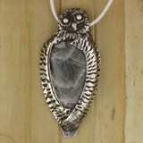 Bamboo View  Front -  Fine Silver Owl with Labradorite pendant (1363)