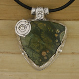 Bamboo View - Awakening Universe pendant Rhyolite stone in .999 Fine Silver (1362) front side