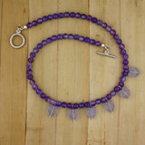 Bamboo View - Purple Agate Pussy-cat Necklace on Silver Plate (16 inches) (1384)