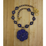 Bamboo View - Lapis Flower and Pearl Choker (16 inches) (0729)