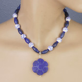 Mannequin View - Lapis Flower and Chrysoprase (16 inches) (0619)