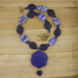 Bamboo View - Lapis Flower and Glass Collar Choker (15 inches) (0736)