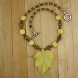 Bamboo View - Lemon Jade Leaf Pendant Necklaces on Silver Plate (0614)