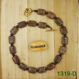 Bamboo View - Dark Petoskey Stone on Gold Plate Necklace (1319)