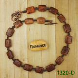 Bamboo View - Red-Orange Petoskey Stone on Antique Copper Necklace (1320)