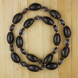 Bamboo View - Black Ceramic and Czech Glass Hand Knotted Cotton Cord Necklace (28 inches) (1103)