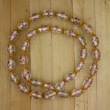 Bamboo View - Pink Czech Glass Hand Knotted Bamboo Cord Necklace (27 inches) (1105)