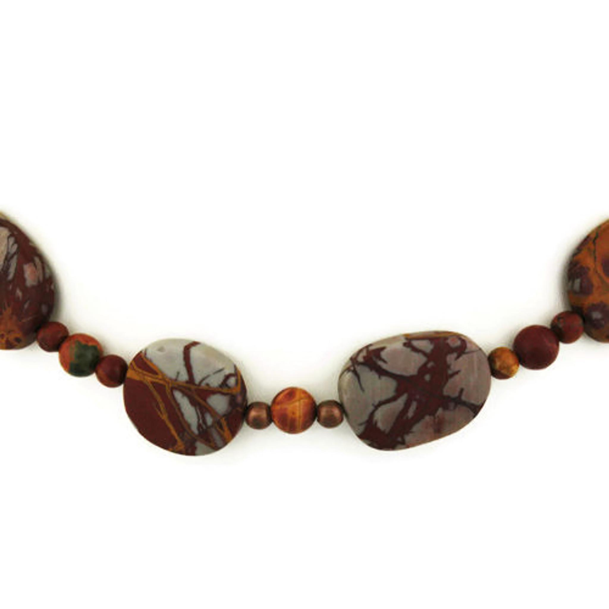 Beautiful Red Creek Jasper and Matte Black Agate Bib Necklace