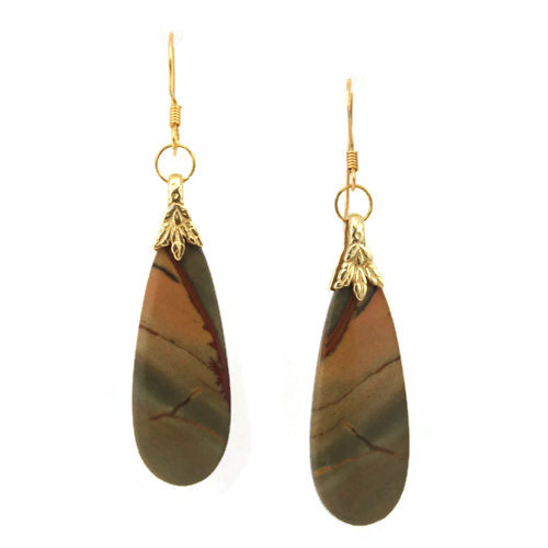 Center View - Red Creek Jasper Drop on 24k Gold Ear-wires (1045)