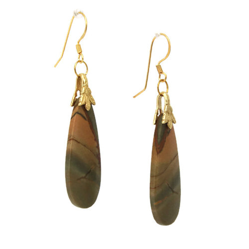 Right View - Red Creek Jasper Drop on 24k Gold Ear-wires (1045)