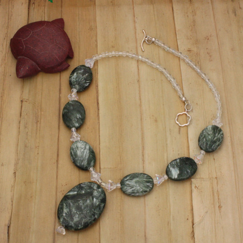Bamboo View - Seraphinite Drop and Ovals with Czech Glass Flower on Sterling Silver (0794)