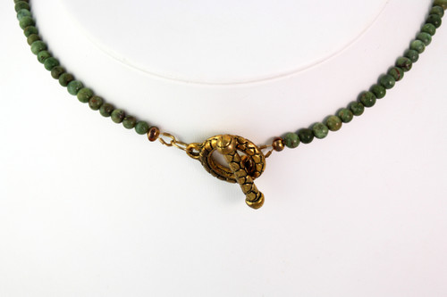 Necklace - Quartz Tube Flowers with Green Opal and Verdi-Antique Serpentine (22 inches)