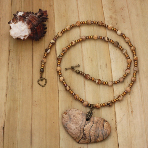 Bamboo View - Picture Jasper Heart with Antique Gold Clasp (0899)