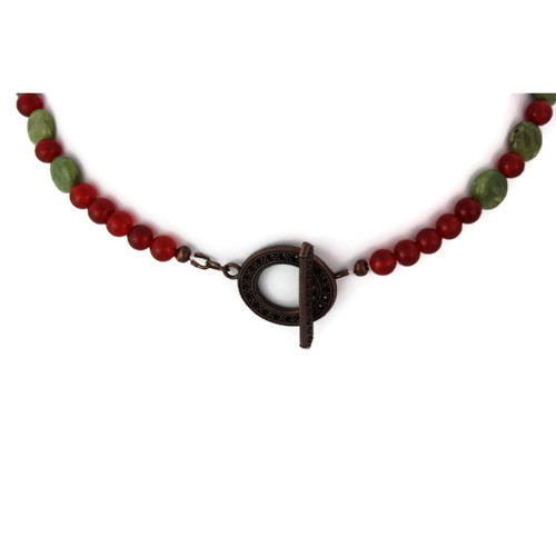 Clasp View - Sage Grouse Egg and Green Garnet and Carnelian on Antique Copper (0735)