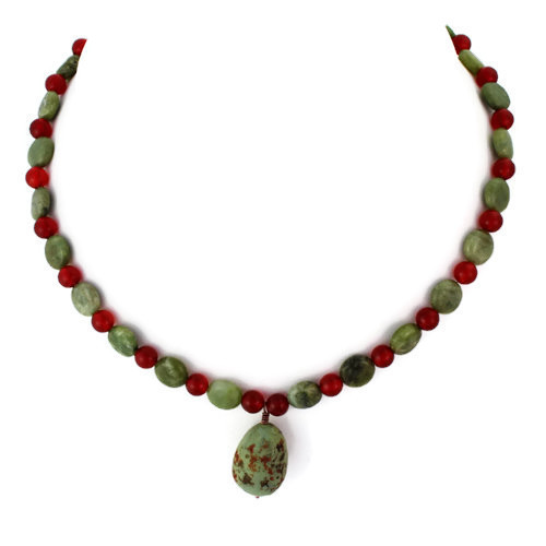Full View - Sage Grouse Egg and Green Garnet and Carnelian on Antique Copper (0735)