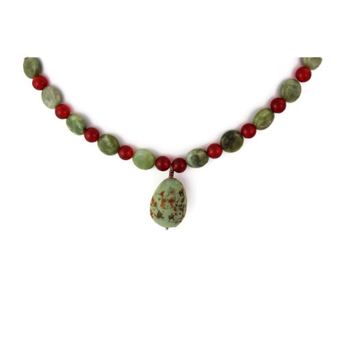 Pendant View - Sage Grouse Egg and Green Garnet and Carnelian on Antique Copper (0735)