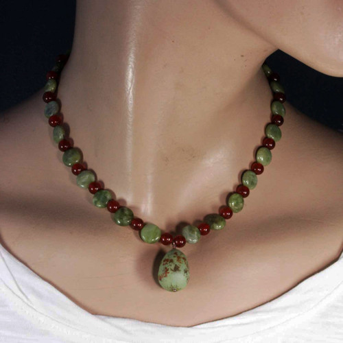Mannequin View - Sage Grouse Egg and Green Garnet and Carnelian on Antique Copper (0735)
