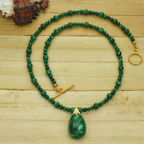 Bamboo View - Malachite Pendant and Beads on Gold (1092)