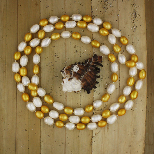 Bamboo View - Gold and White Cultured Pearl Necklace (1113)