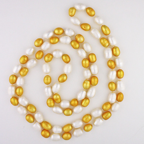 White View - Gold and White Cultured Pearl Necklace Knotted On Silk (1113)