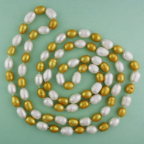 Green View - Gold and White Cultured Pearl Necklace (1113)