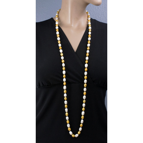 Mannequin Long View - Gold and White Cultured Pearl Necklace (1113)