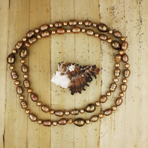 Bamboo View - Bronzy Cultured Pearl Necklacel (1224)