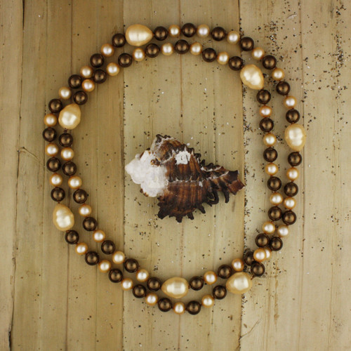 Bamboo View - Creamy A-Grade Cultured Pearl, Dark Brown Imitation Shell Pearl , and Creamy Imitation Pearl Drop Necklace (1225)
