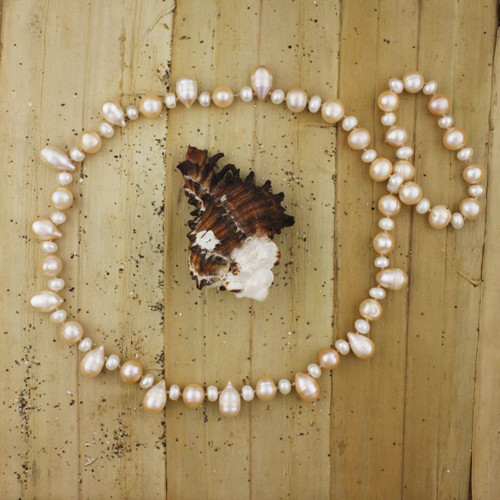 Bamboo View- Peachy Cultured Pearl Drop and White Cultured Pearl Necklace (1230)