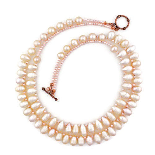 White View - Peachy Cultured Pearl Drop Double Necklace (1231)