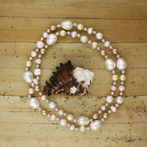 Bamboo View -White Cultured Potato Pearl with White, Tan, and Cream Imitation Shell Pearl and Imitation Pearl Drop Necklace (1232)