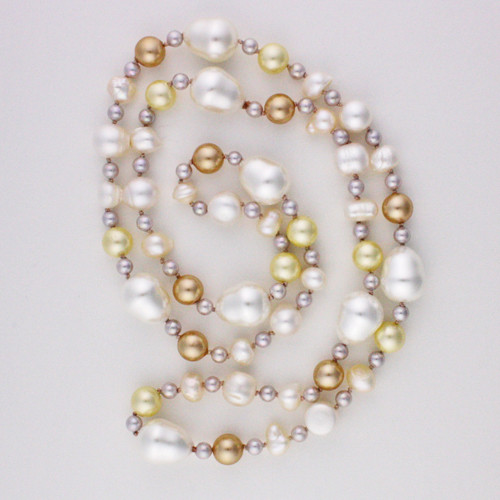 White View -White Cultured Potato Pearl with White, Tan, and Cream Imitation Shell Pearl and Imitation Pearl Drop Necklace (1232)