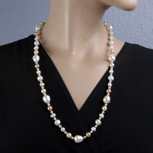Mannequin View -White Cultured Potato Pearl with White, Tan, and Cream Imitation Shell Pearl and Imitation Pearl Drop Necklace (1232)