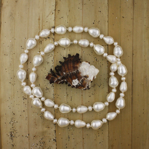 Bamboo View - White Cultured Pearl Drop Necklace (1234)