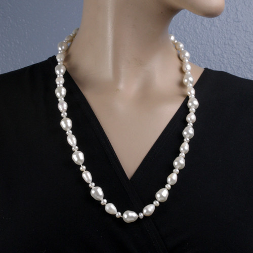 Mannequin View - White Cultured Pearl Drop Necklace (1234)
